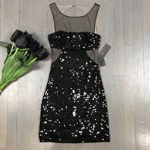 NWT BCBGMAXAZRIA Lia Sequin Sheer Sleeveless Dress